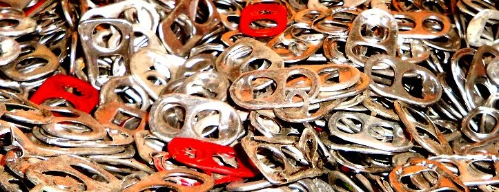 Recycled aluminum soda can pull tabs